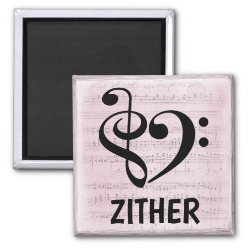 Treble Clef Bass Clef Musical Heart Zither Music Lover 2-inch Square Magnet