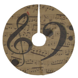 Treble Clef Bass sheet music Brushed Polyester Tree Skirt
