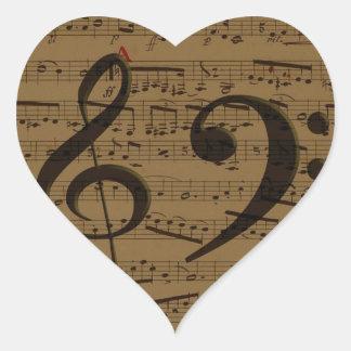 Treble Clef Bass sheet music Heart Sticker