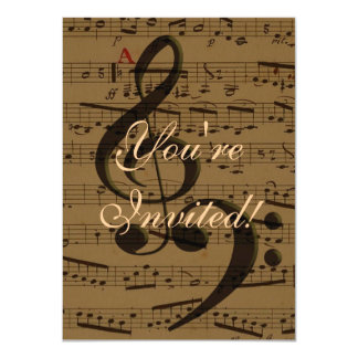 Treble Clef Bass sheet music 4.5x6.25 Paper Invitation Card