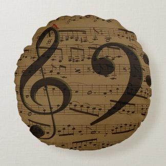 Treble Clef Bass sheet music Round Pillow