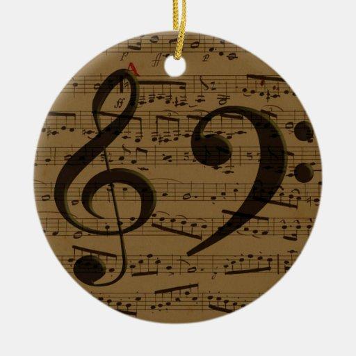 Treble Clef Bass sheet music Christmas Tree Ornaments