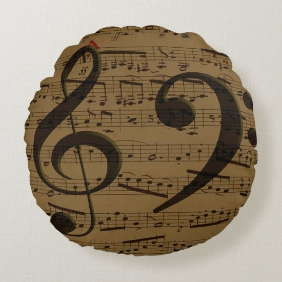 Treble Clef Bass sheet music Round Pillow