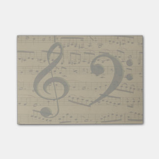 Treble Clef Bass sheet music Post-it® Notes