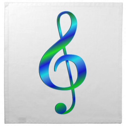 Treble Clef Blue and Green Printed Napkin