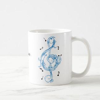 Treble clef blue scrollwork sol note key coffee mug