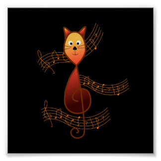 Treble Clef Cat Poster