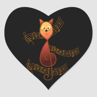 Treble Clef Cat Heart Sticker