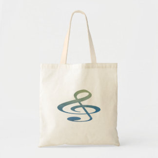 treble clef clouds blue green budget tote bag