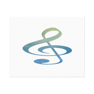 treble clef clouds blue green canvas print