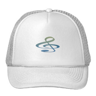 treble clef clouds blue green mesh hats
