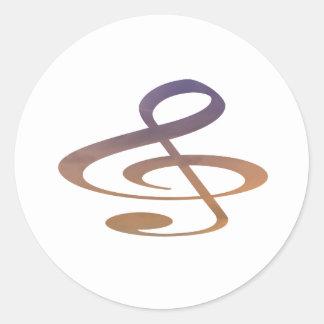 treble clef clouds purple orange classic round sticker