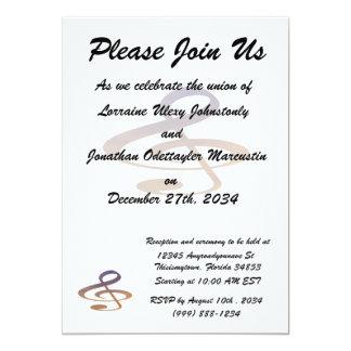 "treble clef clouds purple orange 5"" x 7"" invitation card"
