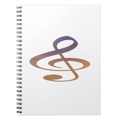 treble clef clouds purple orange spiral notebook