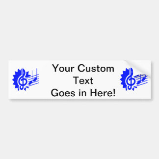 treble clef eighth notes staff graphic blue bumper sticker
