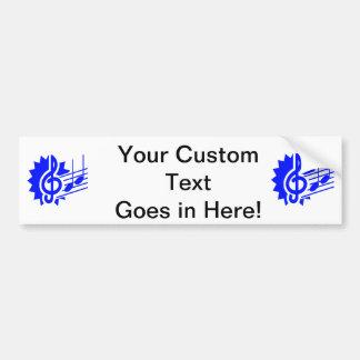 treble clef eighth notes staff graphic blue bumper sticker