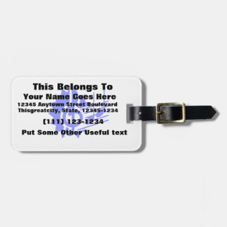treble clef eighth notes staff graphic blue luggage tag