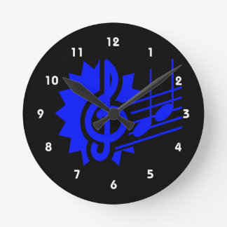 treble clef eighth notes staff graphic blue round clock