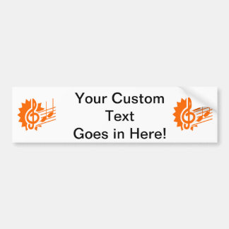 treble clef eighth notes staff graphic orange.png bumper sticker