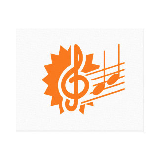 treble clef eighth notes staff graphic orange.png canvas print