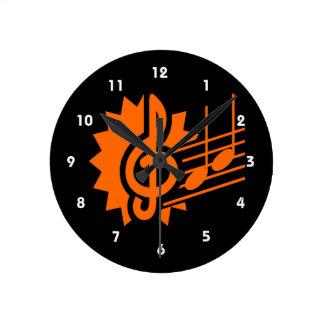 treble clef eighth notes staff graphic orange.png round clock