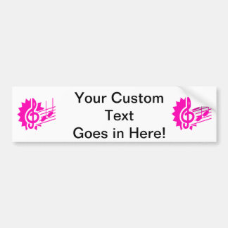 treble clef eighth notes staff graphic pink.png bumper sticker