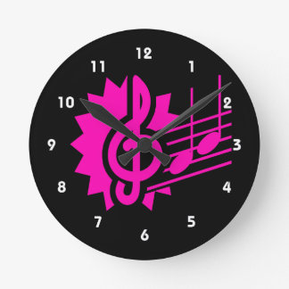 treble clef eighth notes staff graphic pink.png round clock