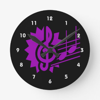 treble clef eighth notes staff graphic purple.png round clock