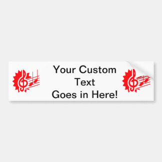 treble clef eighth notes staff graphic red.png bumper sticker
