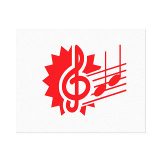 treble clef eighth notes staff graphic red.png canvas print