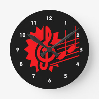 treble clef eighth notes staff graphic red.png round clock