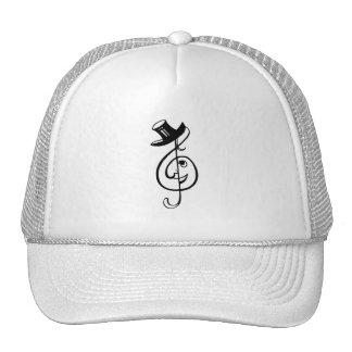 treble clef face top hat music design black.png