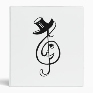 treble clef face top hat music design black.png 3 ring binder