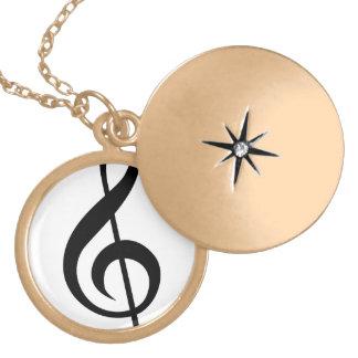 Treble Clef G-Clef Musical Symbol Locket Necklace