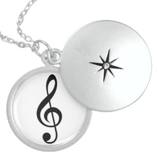 Treble Clef G-Clef Musical Symbol Sterling Silver Necklace