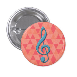 Treble Clef Geometric Triangles Teal and Pinks Pins