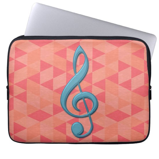 Treble Clef Geometric Triangles Teal and Pinks Computer Sleeve