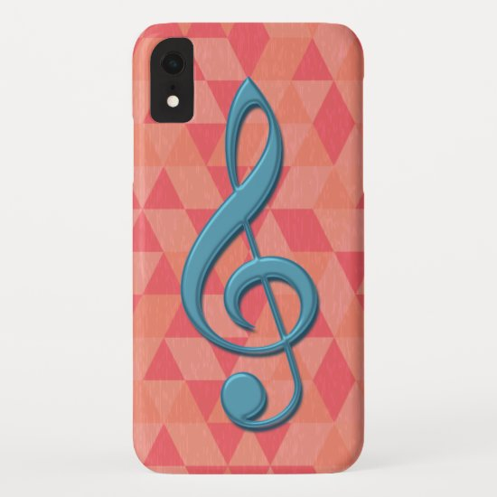 Treble Clef Geometric Triangles Teal and Pinks iPhone XR Case