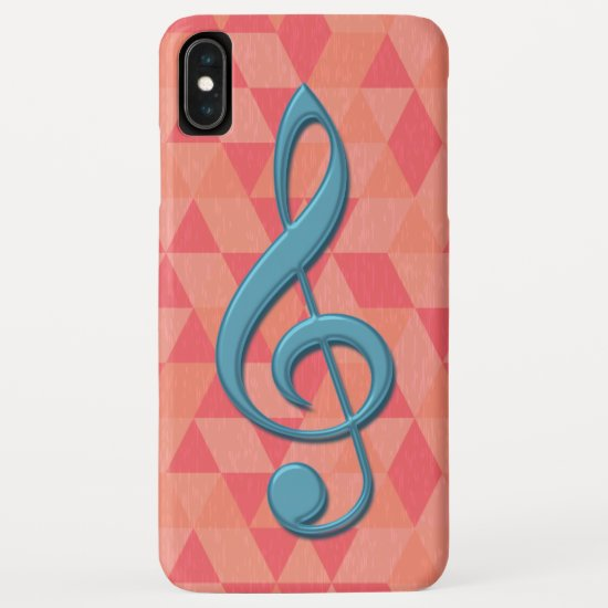 Treble Clef Geometric Triangles Teal and Pinks iPhone XS Max Case