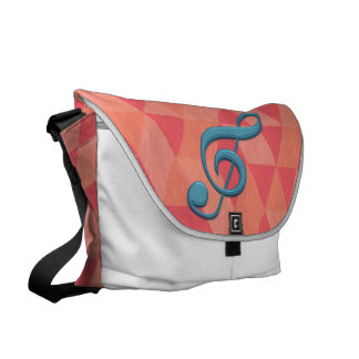 Treble Clef Geometric Triangles Teal and Pinks Messenger Bag