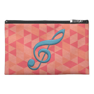 Treble Clef Geometric Triangles Teal and Pinks Travel Accessories Bag