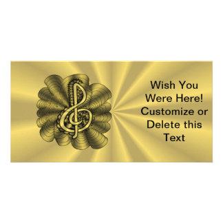 Treble Clef Gold Metallic Customizable Customized Photo Card