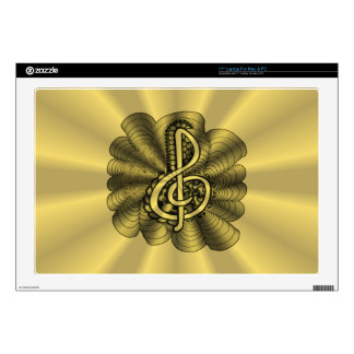 "Treble Clef Gold Metallic Customizable Skins For 17"" Laptops"