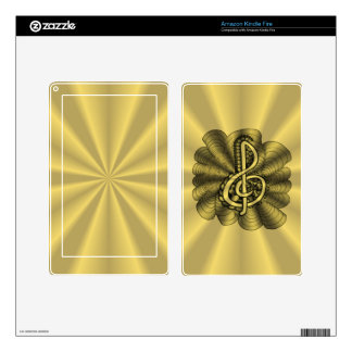 Treble Clef Gold Metallic Customizable Skins For Kindle Fire