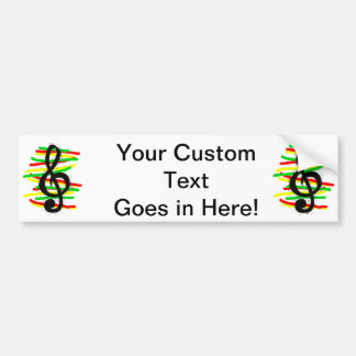 Treble Clef Graphic Black with Red Yellow Green Bumper Stickers