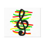 Treble Clef Graphic Black with Red Yellow Green Canvas Prints