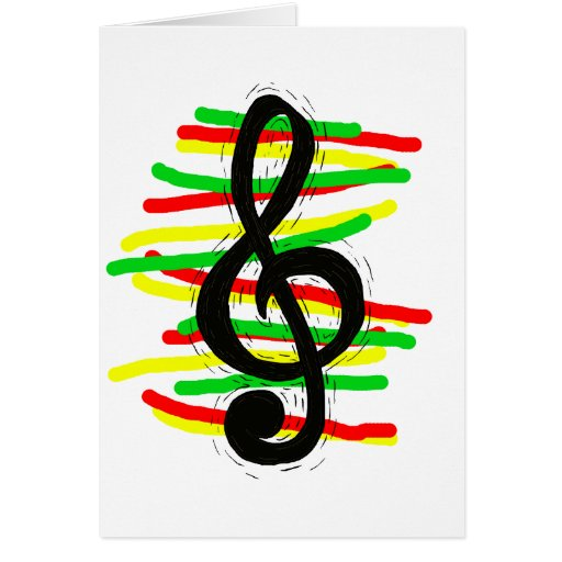 Treble Clef Graphic Black with Red Yellow Green Card