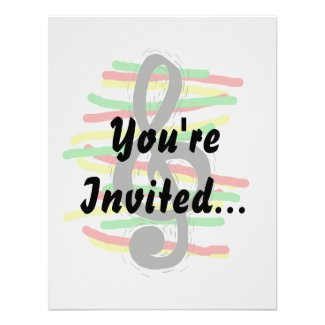 Treble Clef Graphic Black with Red Yellow Green Custom Invitations