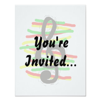Treble Clef Graphic Black with Red Yellow Green 4.25x5.5 Paper Invitation Card
