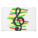 Treble Clef Graphic Black with Red Yellow Green Case For The iPad Mini